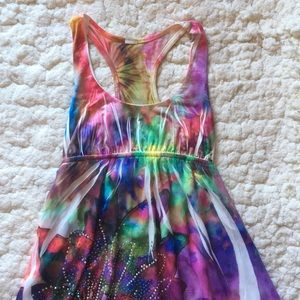 Dresses & Skirts - Rainbow Tie-Dye watercolor bedazzled dress